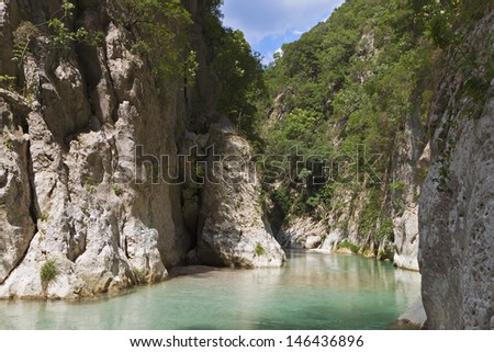 Acheron river springs and gorge in Greece - stock photo