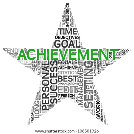 Achievement and success concept related words in tag cloud isolated on white in star shape - stock photo