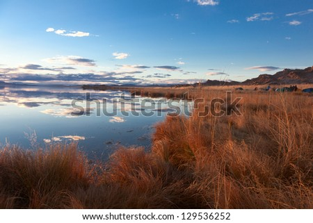 Achitnoor lake in the Mongolian steppe in the autumn