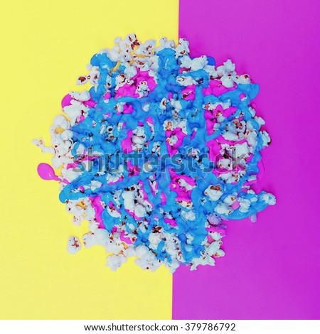Acid vivid Popcorn. Mix colors. Minimalism Art - stock photo