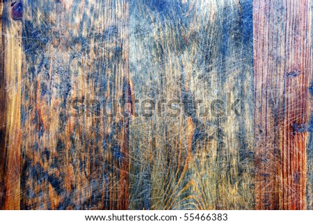 acient wood background with scarifications - stock photo
