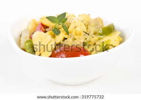 Ackee & Saltfish - Traditional Jamaican dish made of salt cod and ackee fruit. - stock photo