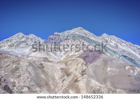 Aconcagua, the highest mountain in the Americas at 6.960.8 m., located in the Andes mountain range in Mendoza, Argentina.