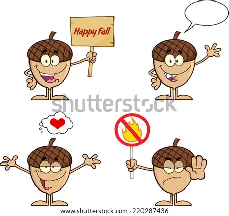 Acorn Cartoon Mascot Character Series 3. Raster Collection Set - stock photo