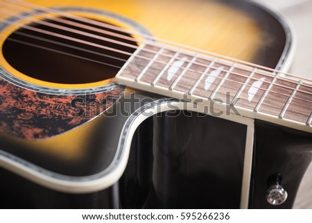 Acoustic guitar detail stock photo 576694465 shutterstock for Classic house string sound