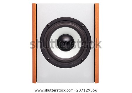 Acoustic column on a white background, nobody. The white loudspeaker with a black dome, acoustics case from a tree. - stock photo