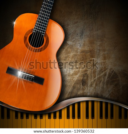 Acoustic Guitar and Piano Grunge Background / Acoustic brown guitar and piano against a grunge background   - stock photo