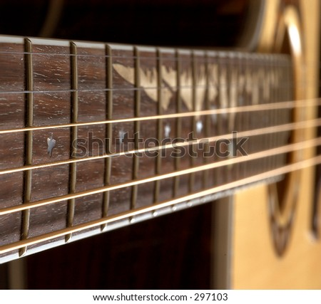 Acoustic Guitar Close Up Of Fretboard