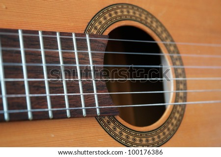 acoustic guitar closeup with strings - stock photo