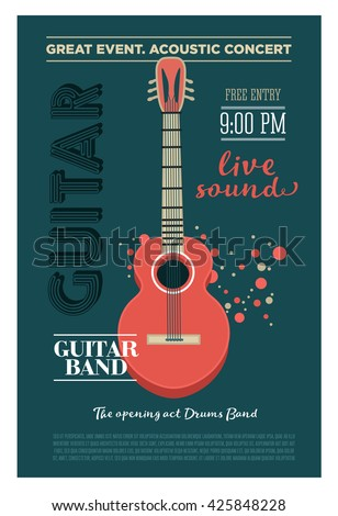 Acoustic Guitar Concert Flyer Template Retro Stock ...