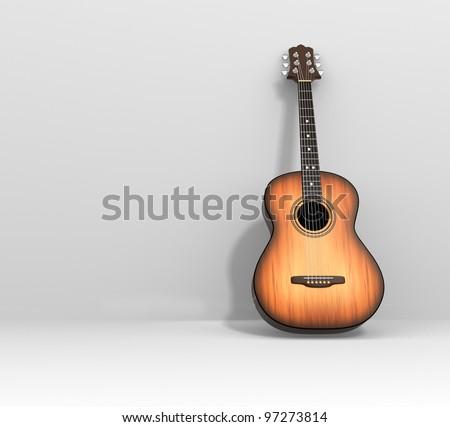 Acoustic guitar. 3d render illustration - stock photo