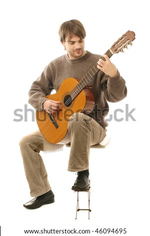 Acoustic guitar guitarist man classical. Classic player music play with six-string musical instrument isolated on white.