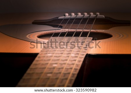 Acoustic Guitar in a soft warm light