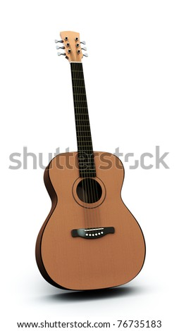 acoustic guitar isolated on the white background