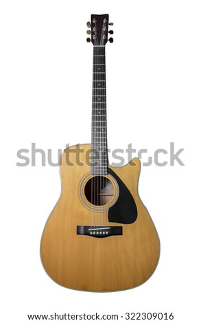 Acoustic guitar isolated on white