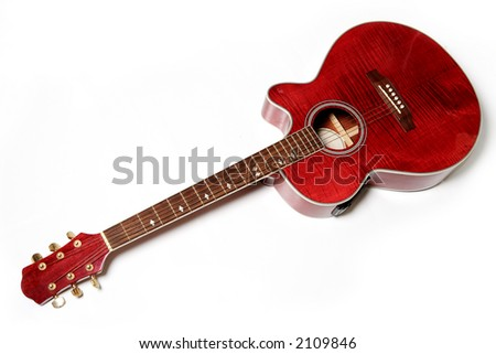 Acoustic guitar isolated over white. Musical instrument - stock photo