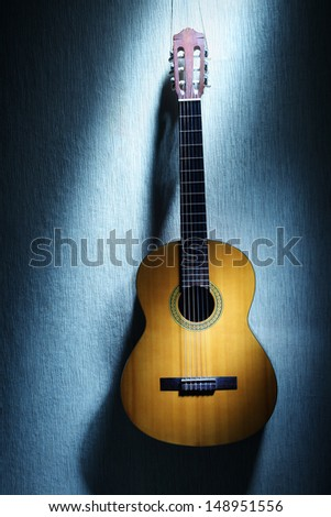 Acoustic guitar musical instrument. Classical music - stock photo