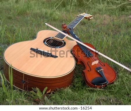 Acoustic Guitar Violin - stock photo