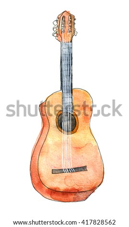 Acoustic guitar watercolor sketch isolated over white background. Drawing of a musical instrument. - stock photo