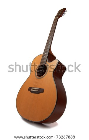 Acoustic guitar, wide perspective - stock photo
