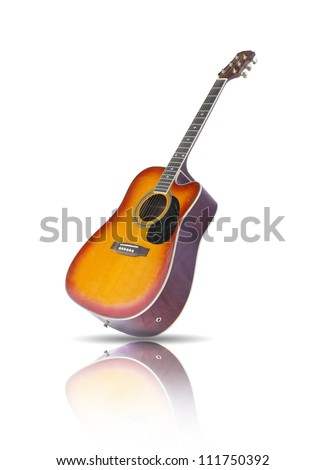 acoustic guitar with reflection isolated on white background - stock photo