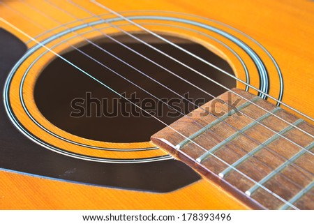 Acoustic guitar wood color close up, The guitar background