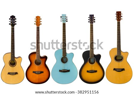 acoustic guitars isolated on white background - stock photo