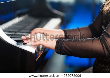 Acoustic. Pianist musician piano music playing. Musical instrument grand piano with woman performer. - stock photo