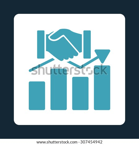 Acquisition Graph raster icon. This flat rounded square button uses blue and white colors and isolated on a dark blue background. - stock photo