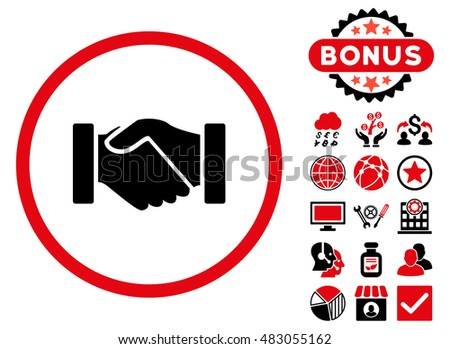 Acquisition Handshake icon with bonus. Glyph illustration style is flat iconic bicolor symbols, intensive red and black colors, white background.
