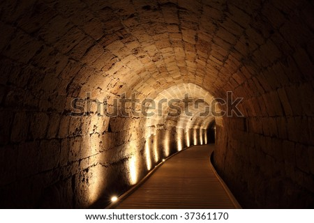 Acre knight templar tunnel, Israel - stock photo