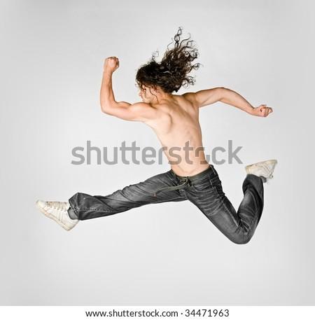 Acrobatic jumping - stock photo