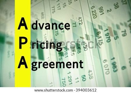 Acronym Apa Advance Pricing Agreement Stock Illustration 394003612