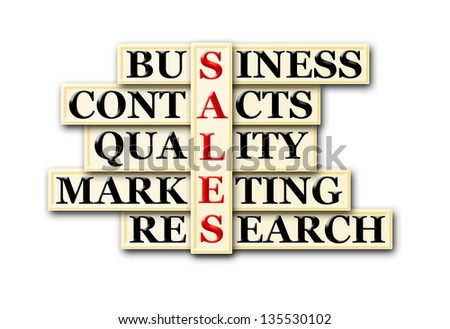 acronym concept of sales  and other releated words - stock photo