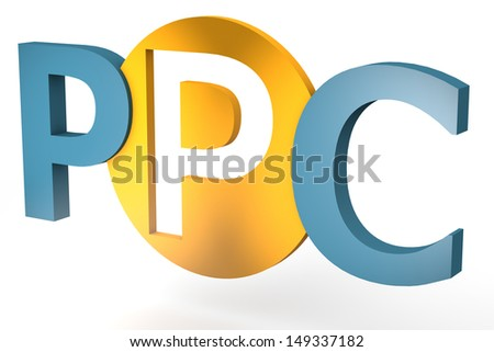 acronym concept: PPC for Pay per Click isolated on white background - stock photo