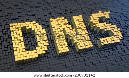 Acronym 'DNS' of the yellow square pixels on a black matrix background. Internet routing concept. - stock photo