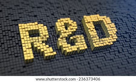 Acronym 'R&D' of the yellow square pixels on a black matrix background. Research and development department - stock photo