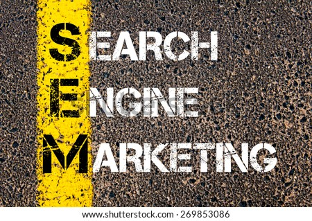 Acronym SEM - Search Engine Marketing. Business Conceptual image with yellow paint line on the road over asphalt stone background. - stock photo