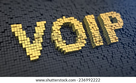 Acronym 'VOIP' of the yellow square pixels on a black matrix background. Internet communication technology concept. - stock photo