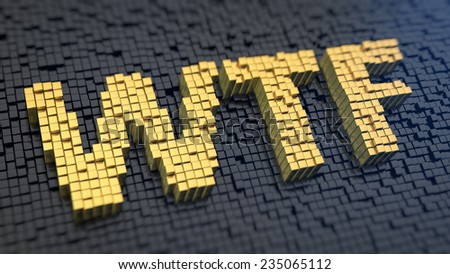Acronym 'WTF' of the yellow square pixels on a black matrix background. Totally do not understand concept. - stock photo