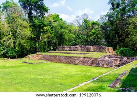 Acropolis and ball court in Quirigua, Gutemala, Latin America - stock photo