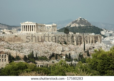 Acropolis and Mount Lycabettus in Athens (Greece) - stock photo