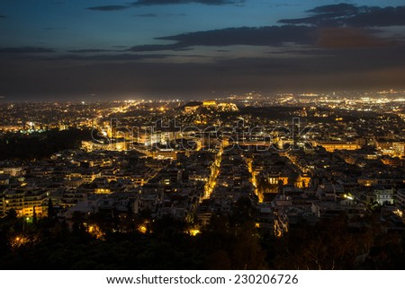 Acropolis & Athens at Night - stock photo