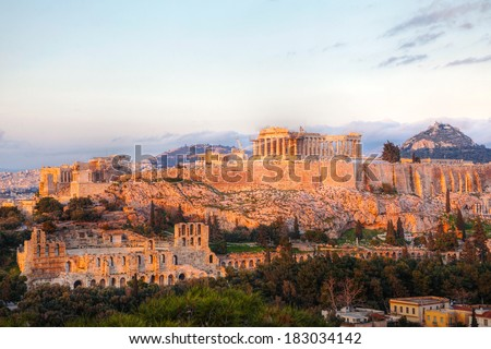 Acropolis in Athens, Greece in the evening before sunset - stock photo
