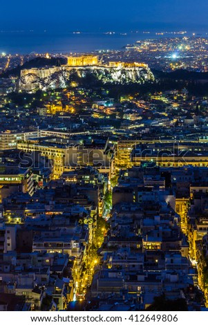 Acropolis of Athens at night. View from Mount Lycabettus