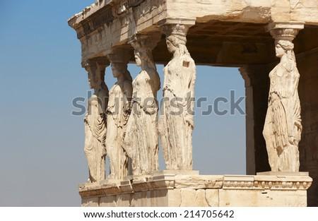 Acropolis of Athens. Caryatids columns. Greece. Horizontal - stock photo