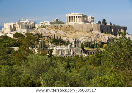 Acropolis seen from Filopapos Hill, Athens, Greece - stock photo