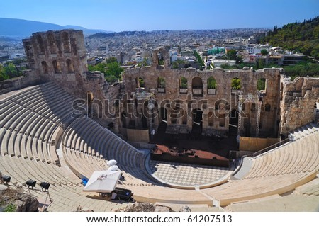 Acropolis theater in Athena, Greece - stock photo