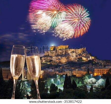 Acropolis with firework, celebration of the New Year in Athens, Greece - stock photo