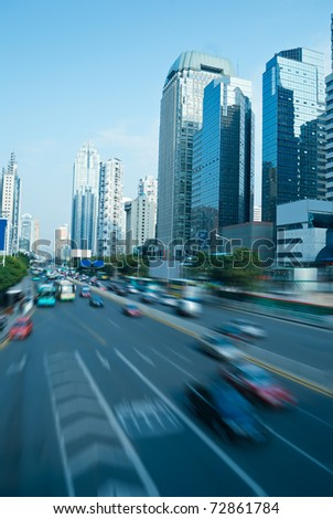 Across the road and traffic of modern urban - stock photo